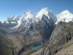 The Waywash mountain range with Yerupajá، one of the highest peaks of Peru