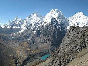 Huánuco Region - The Huayhuash mountain range with Yerupajá, one of the highest peaks of Peru