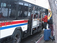 A Salt Lake City city bus with ski racks, in U...