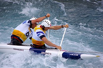 Canoeing at the 2012 Summer Olympics – Men's slalom C-2 - Image: Slalom canoeing 2012 Olympics C2 GBR David Florence and Richard Hounslow
