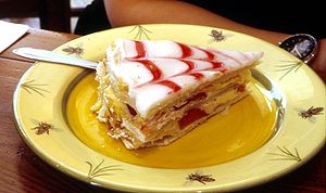 Mille-feuille - A mille-feuille pastry that has combed glazing