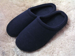 A pair of low-heeled slippers.
