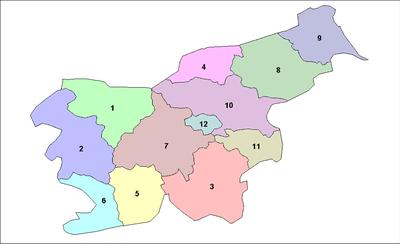 Las doce regiones estadísticas de Eslovenia.