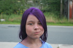 Girl with purplr hair.