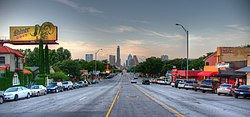 South Congress Avenue leads directly into downtown Austin.