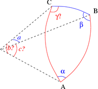Solve spherical triangle with a alpha beta.png
