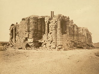 Conversion of non-Islamic places of worship into mosques - Somnath temple in ruins, 1869 CE.
