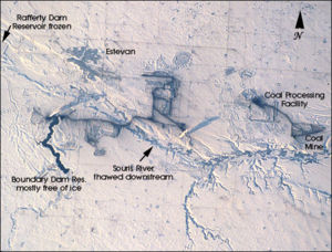 Estevan - Estevan, and the Estevan Coalfield, along the Souris River, viewed from the Space Shuttle, February 2001