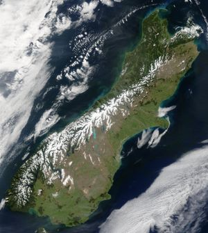 Southern Alps - Snow highlights the Southern Alps in this satellite image