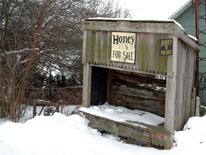 South Raub, Indiana - Snow covers a derelict stand in South Raub