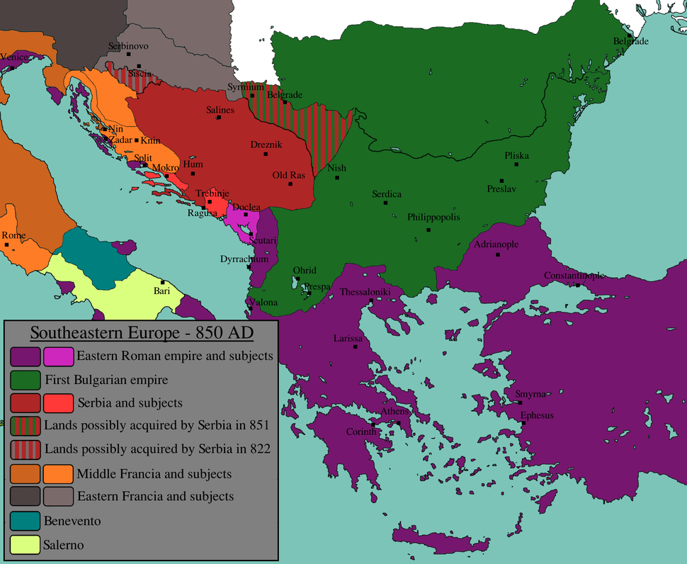 Southeastern Europe in 850