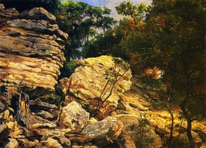 "Hermann Lungkwitz - ""Split Rock on Shoal Creek"", oil on academy board by Hermann Lungkwitz."