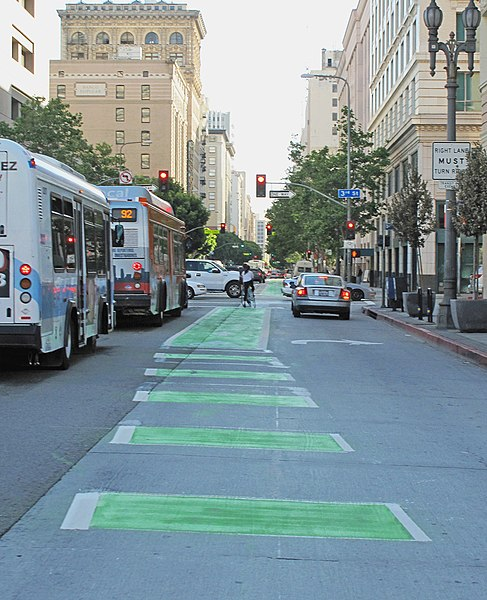 Bike lane in downtown Los Angeles