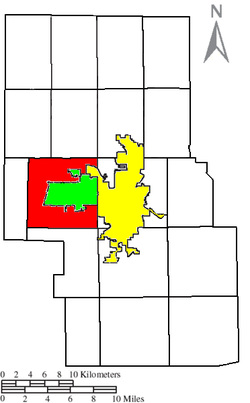 Location of Springfield Township (red) in Richland County, next to the cities of Mansfield (yellow) and Ontario (green).