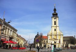 Sremska Mitrovica - Historic part of town with New orthodox church.JPG