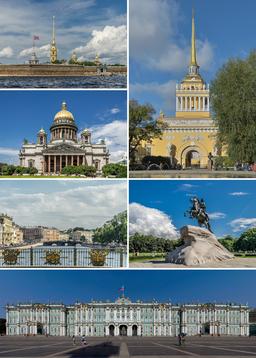 Top:   Admiralitetsbygningen, Peter-Paul-fæstningen, Isakskatedralen, Fontanka, Bronzerytteren, Vinterpaladset.