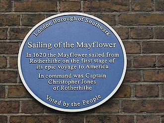 Christopher Jones (Mayflower captain) - St Mary, Rotherhithe - Mayflower plaque