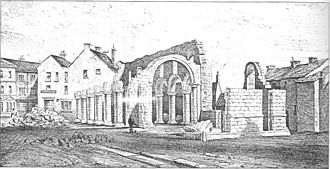 Norman church of St Mary Magdalene, at demolition in 1846 St Mary Magdalene Doncaster.jpg