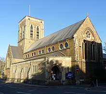 St Nicholas' Church, Bury Street, Guildford (April 2014, from Northwest) (1).JPG