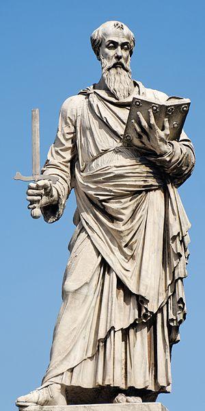Paolo Romano - Saint Paul by Paolo Romano (c. 1460), entrance of the Ponte Sant'Angelo, Rome.