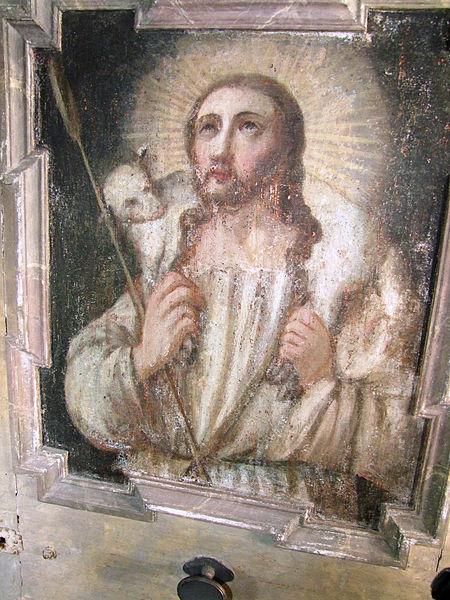 File:St Petrus und Paulu Bellenberg - Kanzeltürbild Jesus als Guter Hirte.JPG