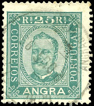 Postage stamps and postal history of the Azores - A 25 reis stamp with the image of King D. Carlos, issued in Angra (1892)