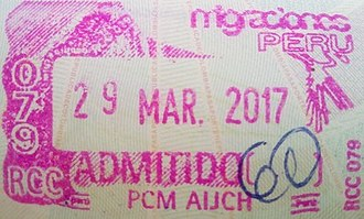 Visa policy of Peru - Image: Stamp of Peru 2017s