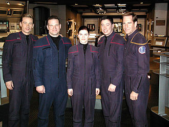 Enterprise (NX-01) - Scott Bakula and Connor Trinneer on the standing bridge set of Enterprise with three crew members from the aircraft carrier USS ''Enterprise'' (CVN-65).