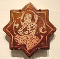 Star Tile with Seated Figure Surrounded by Spiraling Vine, late 12th - early 13th century, Saljuq-Atabeg period, Kashan, Iran - Sackler Museum - DSC02485.JPG