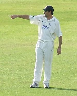 Stephen Fleming - Fleming adjusting the field at Nottinghamshire. Fleming was regarded as one of the world's best cricket captains.