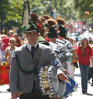German-American Steuben Parade - A group in Bavarian Tracht marches in the 2006 New York Steuben Parade.