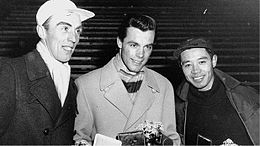 Stig Sollander, Tony Sailer and Chiharu Chick Igaya 1956.jpg