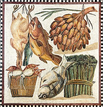 Still life - Still life on a 2nd-century mosaic, with fish, poultry, dates and vegetables from the Vatican museum