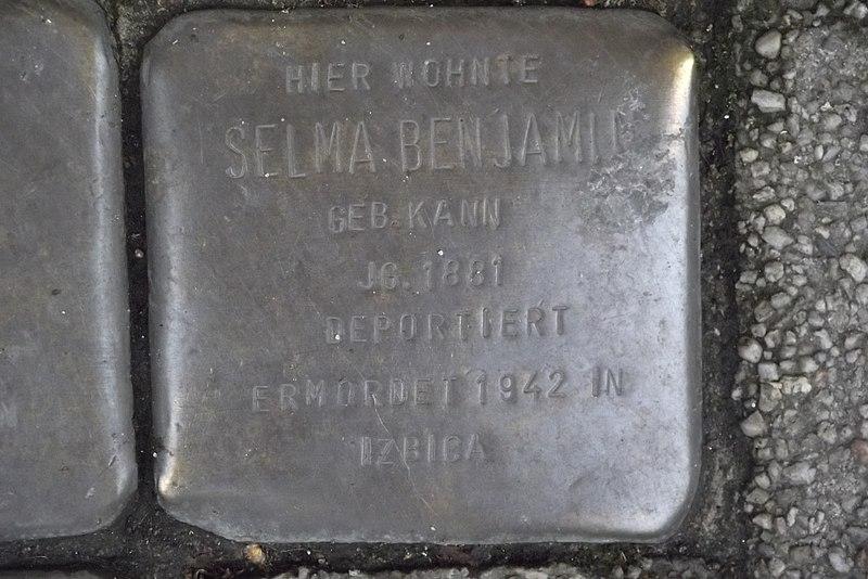 File:Stolperstein Duisburg 400 Ruhrort Fabrikstraße 26 Selma Benjamin.jpg
