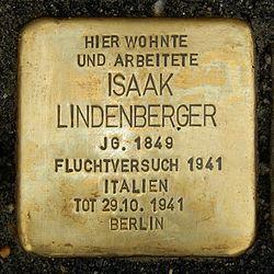 Photo of Isaak Lindenberger brass plaque