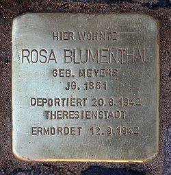 Photo of Rosa Blumenthal brass plaque