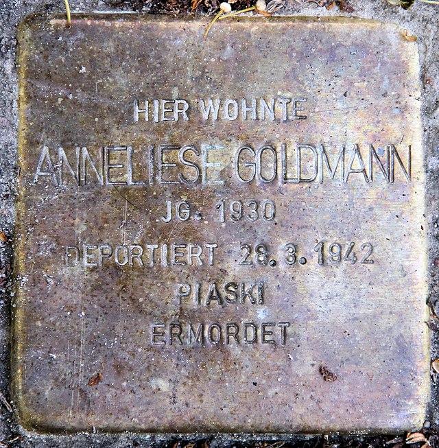 Photo of Anneliese Goldmann brass plaque
