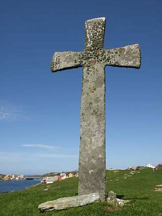 Churches in Norway - The 4 m tall stone cross on Kvitsøy Island, Rogaland.