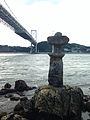 Stone lantern of Mekari Shrine and Kammon Bridge.jpg