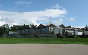 Stratford Festival - A view of the Festival Theatre as seen from the Avon River.