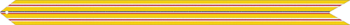 yellow streamer with three red and white stripes
