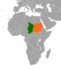 Map indicating locations of Sudan and Chad