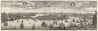 Stockholm during the Great Power Era - Stockholm presented as a capital worthy a powerful nation. Engraving from Eric Dahlberg's Suecia Antiqua et Hodierna around 1690.