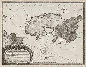 Björkö, Ekerö - Map of Björkö from Suecia Antiqua et Hodierna, published in 1710