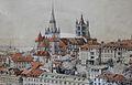 Suisse, canton de Vaud, Lausanne, colline de la Cité, gravure ancienne.jpg
