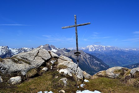 Summit cross of the mountain Saukarkopf in Austria.