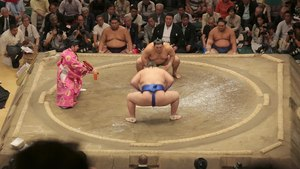 Sumo fight at the Kokugikan in Tokyo, Japan