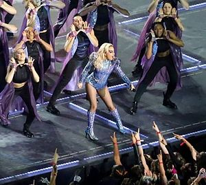 "Born This Way (song) - Gaga performing ""Born This Way"" during the Super Bowl LI halftime show"