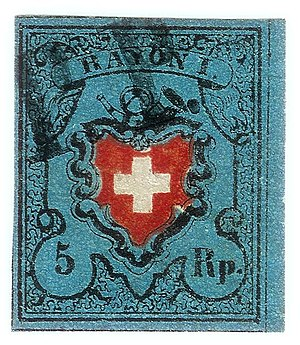 Local mail and rayon stamps of Switzerland - Image: Swiss Post Rayon I stamp 1850