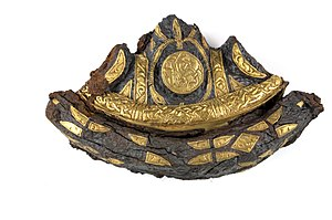 Kingdom of Northumbria - Sword pommel from the Bedale Hoard, inlaid with gold foil.